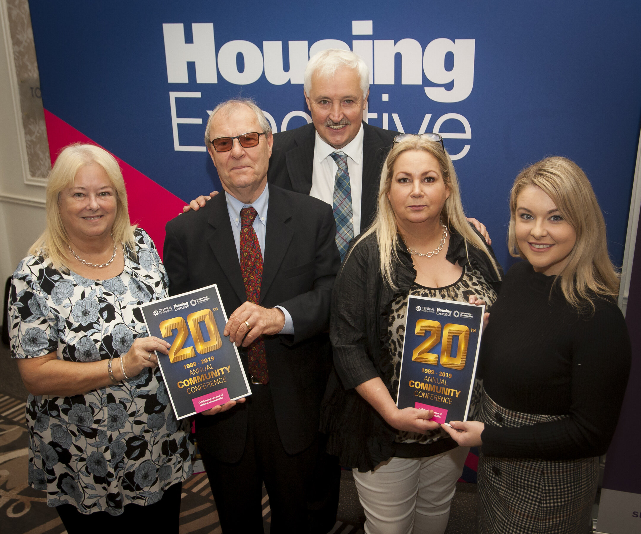 Linda Watson, Central Housing Forum Chair, Peter Roberts, Chair of the Housing Executive, John McMullan, Vice Chair of the Housing Executive, Patricia McQuillian, Central Housing Forum, and Annette Kelly, Keynote Speaker 'Little Penny Thoughts'
