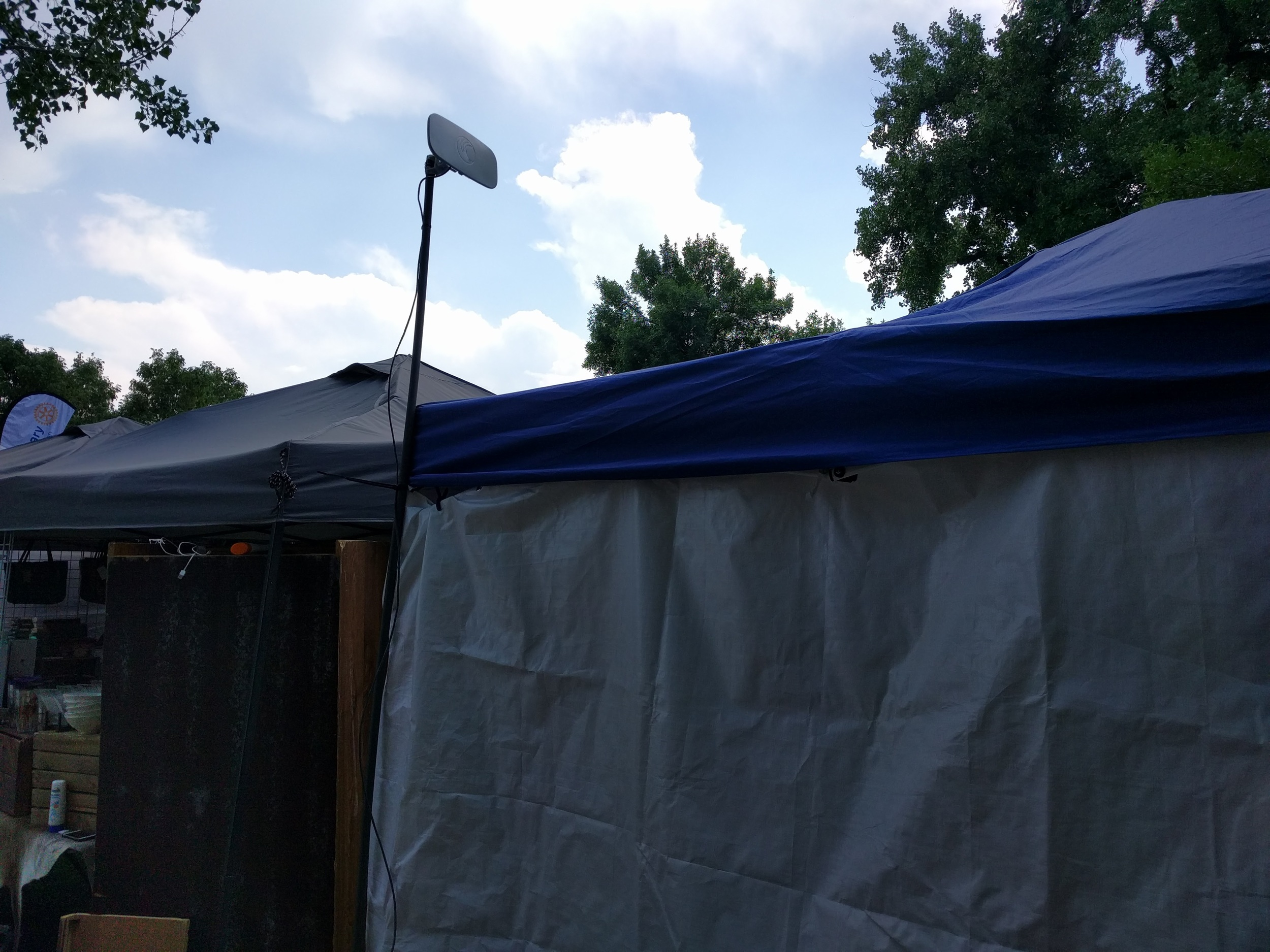Radio on the GHS Football team tent