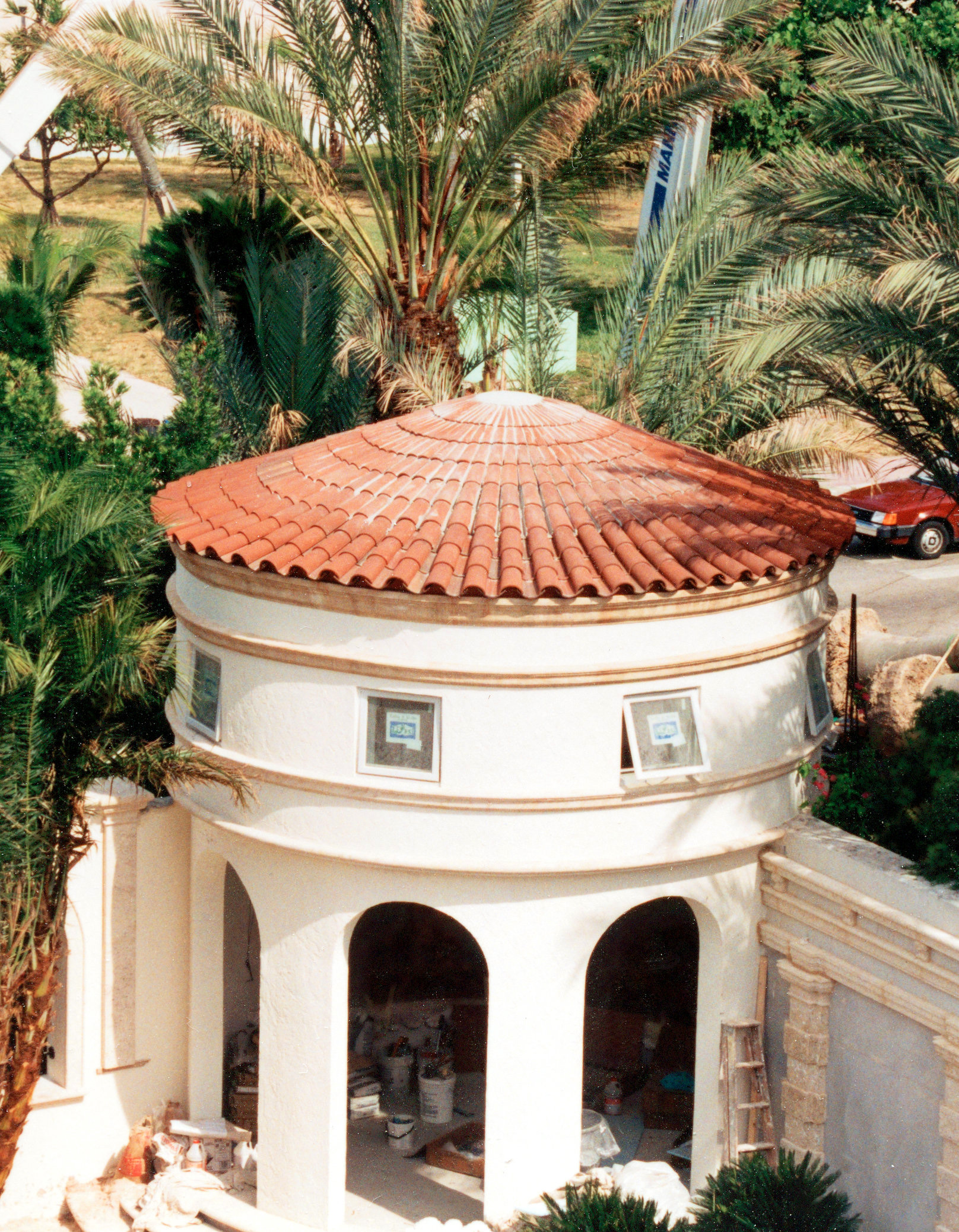 rounded clay tile roof