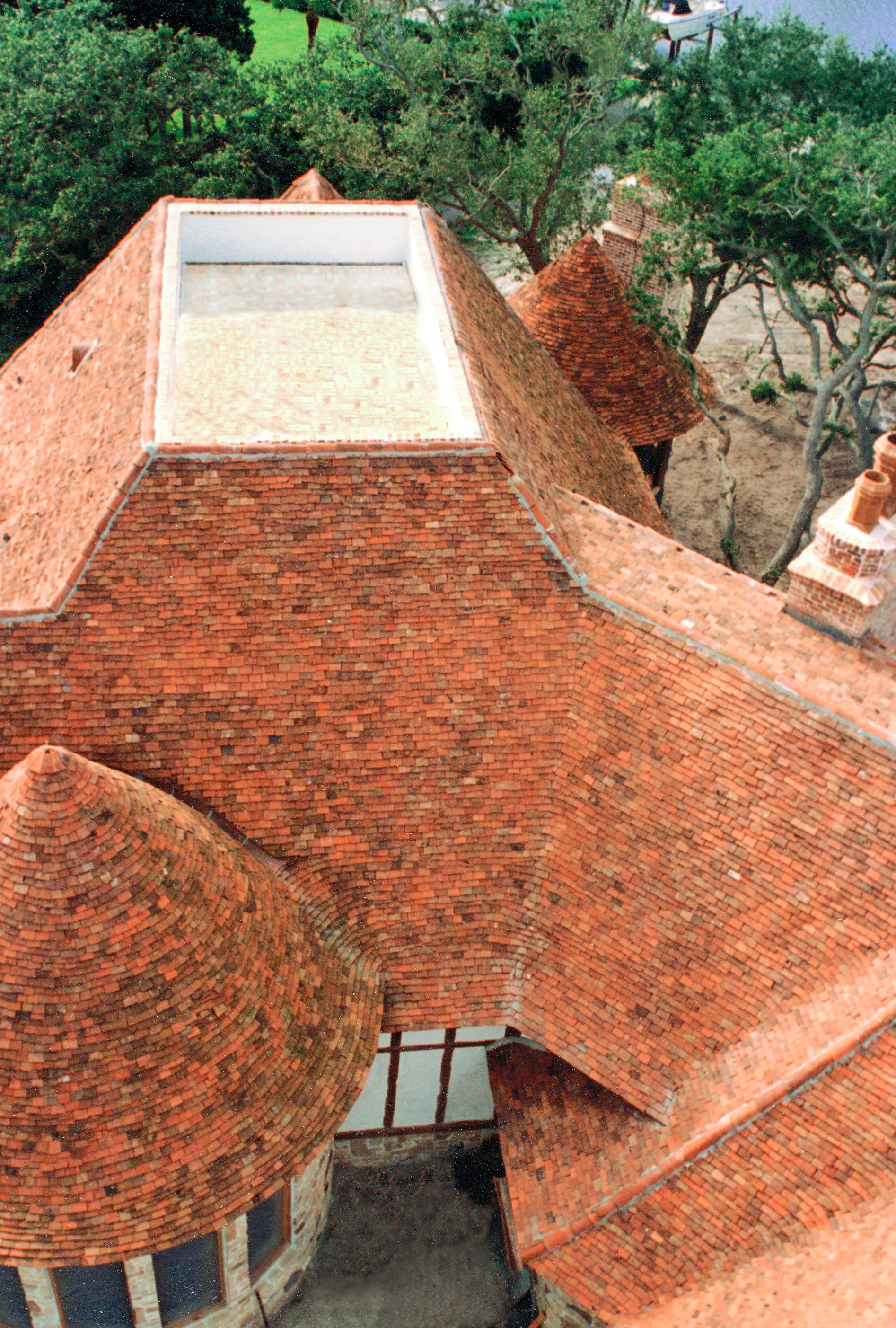 aerial clay tile roof