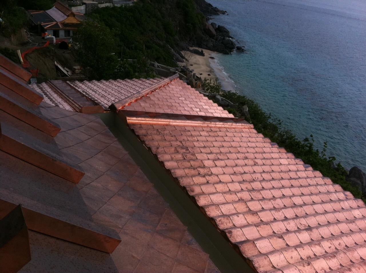 custom metal roof overlooking ocean