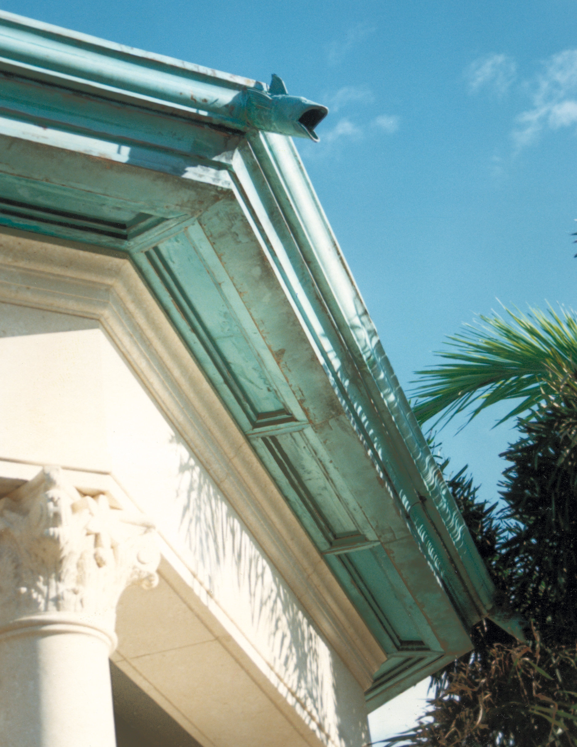 teal and white cornice