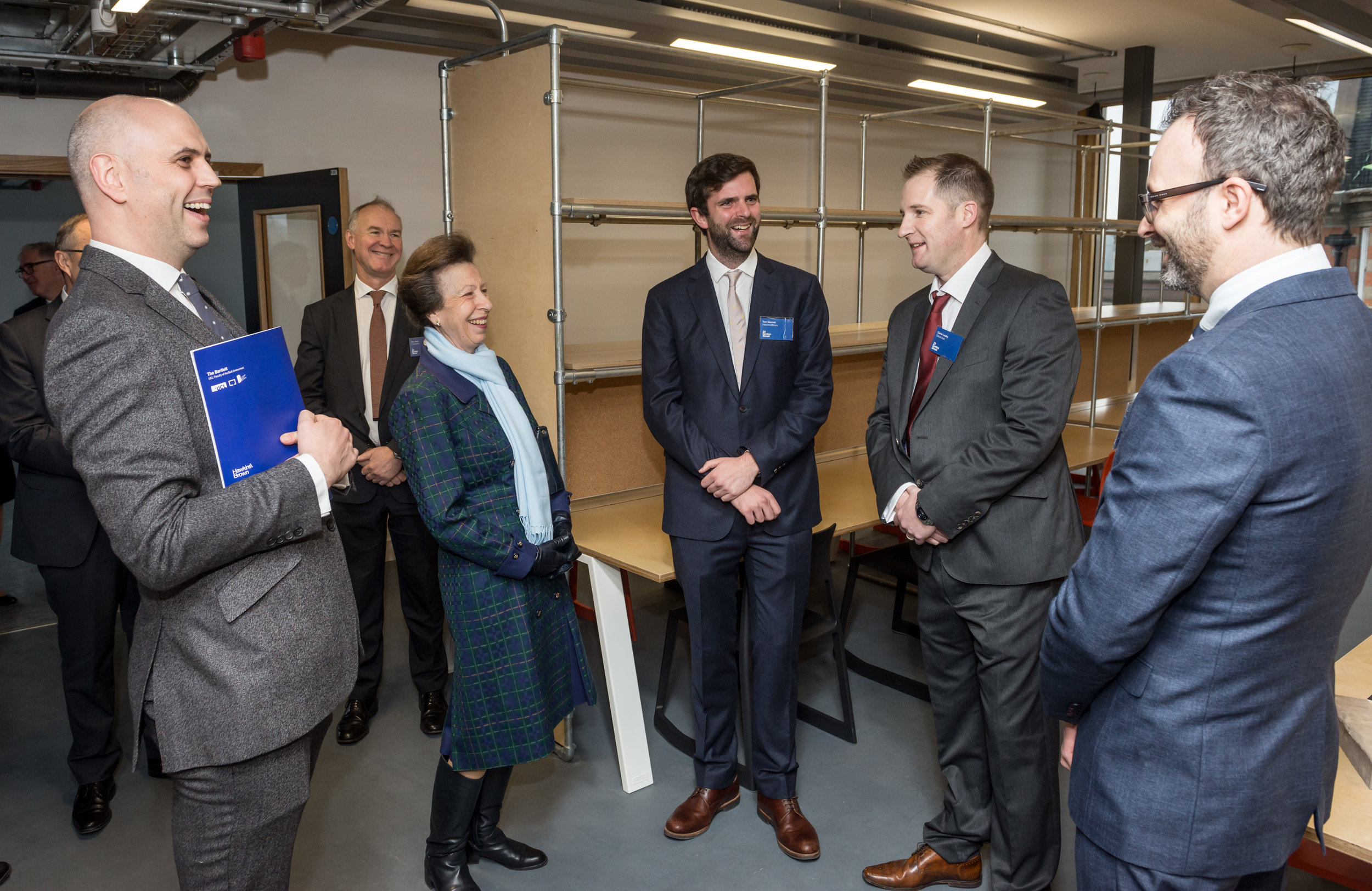 Lead Architect Euan MacDonald introduces HRH Princess Anne to Associate architect Tom Noonan, Project Manager Aaron Coffey and site Manager Ciaran Leahy as she tours the refurbished Bartlett School of Architecture before official opening the building by Hawkins/Brown Architects, 22 Gordon Street. London 16/12/2016