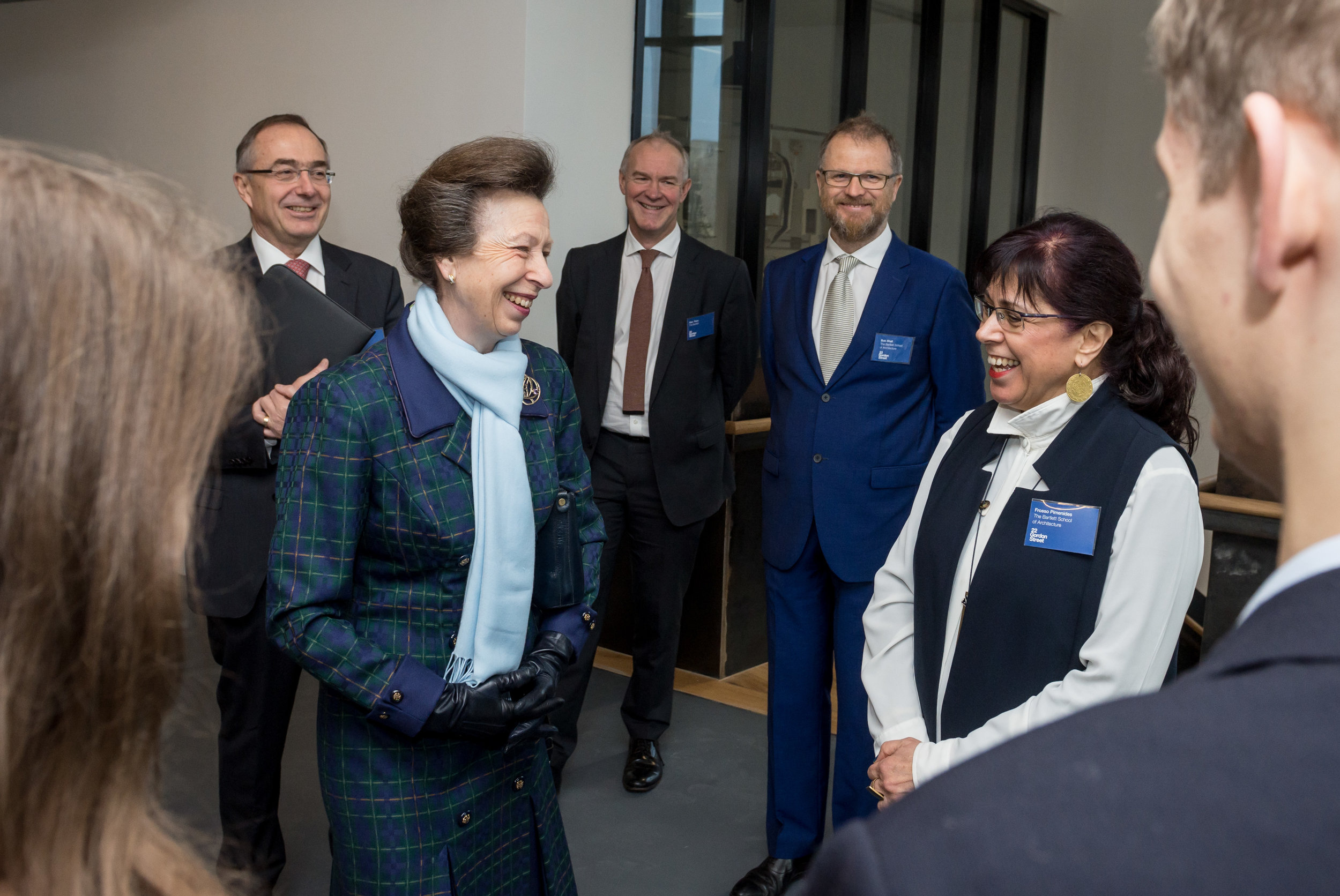 HRH Princess Anne chats with Frosso Pimenides, Head of first year and meets students while touring the building before officially opening the refurbished  Bartlett School of Architecture, 22 Gordon Street. London 16/12/2016