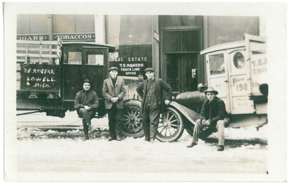 Inspired by this old photograph of Dale's grandfather, T.E. Rogers, in front of his real estate business with his moving trucks in the background, We have set out to provide West Michigan residents with full service real estate for generations to come.