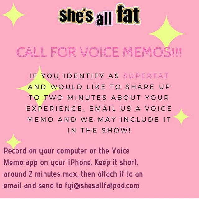 "💜✨🗣// Repost: @shesallfatpod // ""✨✨Send us dat voice! And be on the lookout for future episode topics!✨✨"""
