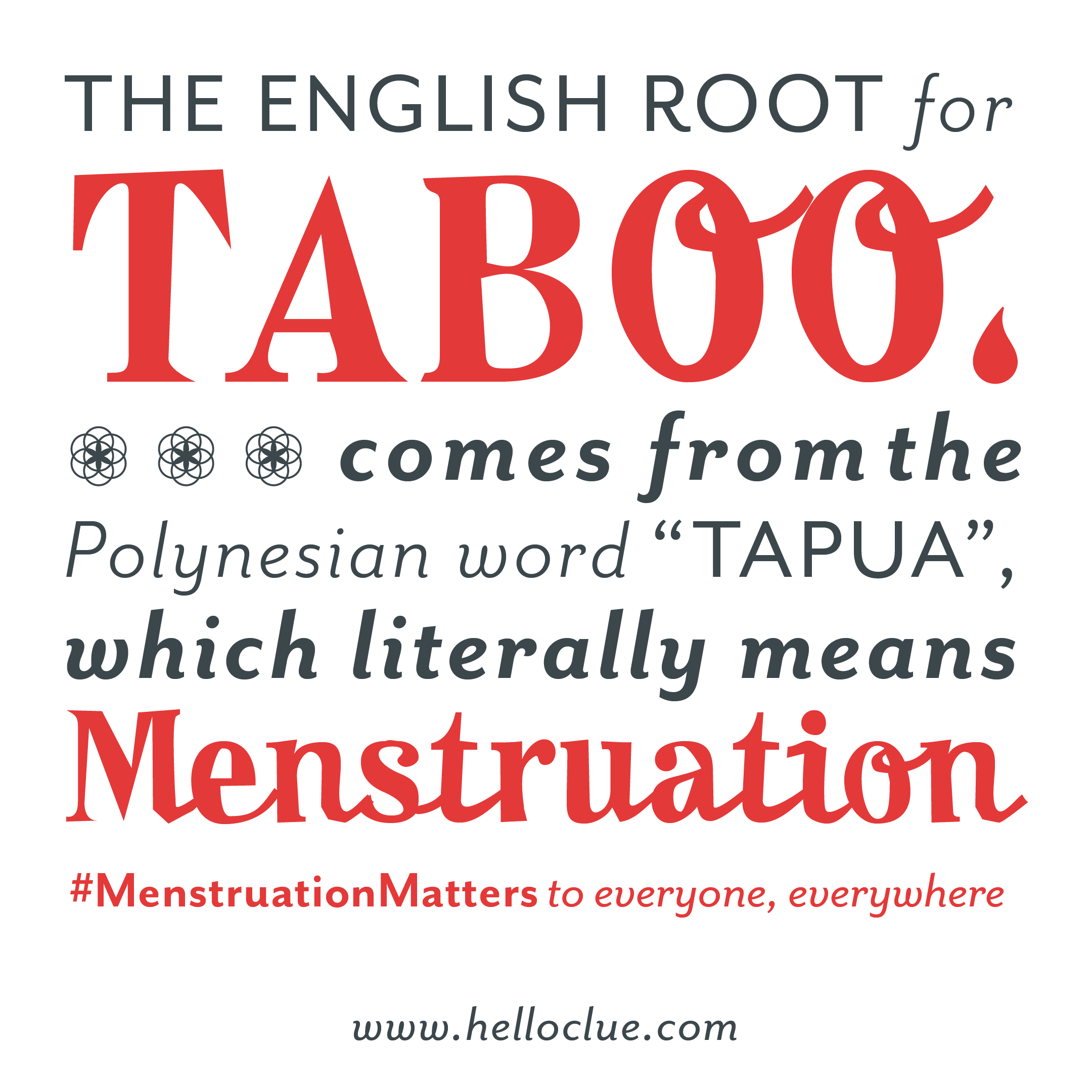 """[Graphic text: """"The English root for 'taboo' comes from the Polynesian word 'tapua,' which literally means 'menstruation.' #MenstruationMatters to everyone, everywhere. www.helloclue.com""""]"""