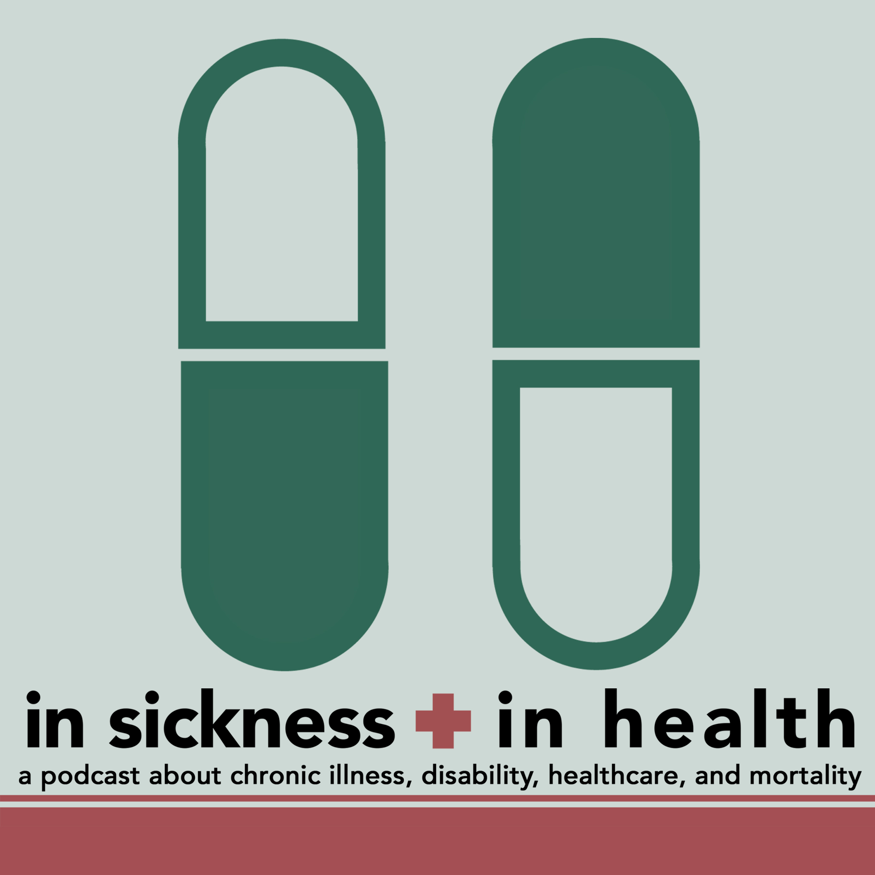 [image: two large, dark green pills on a light green background. Underneath them, there is text: 'In Sickness + In Health: a podcast about chronic illness, disability, healthcare, and mortality']