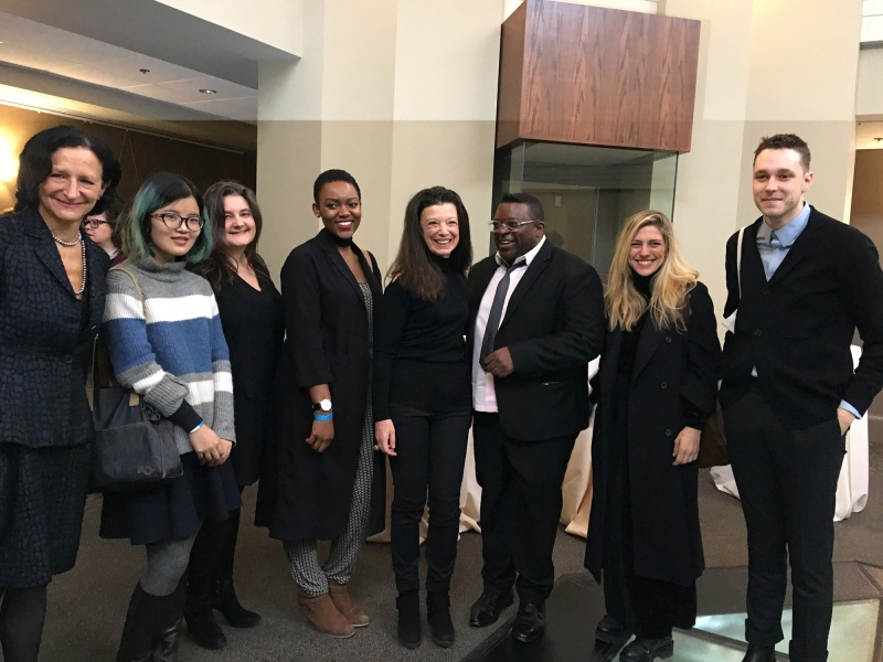 OCAD University President Dr. Sara Diamond, with students Yuling Chen, Aylan Couchie and leaf jerlefia, Carol Weinbaum, Isaac Julien, students Justyna Werbel and Aaron Moore. Photo by Jamie McMillan
