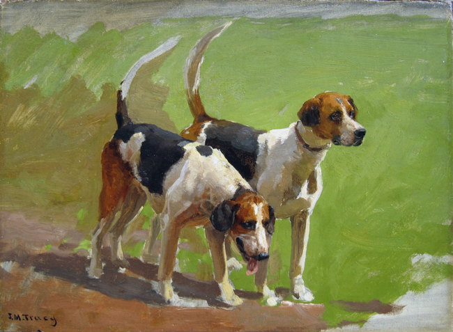 John Martin Tracy | Study of Two Foxhounds