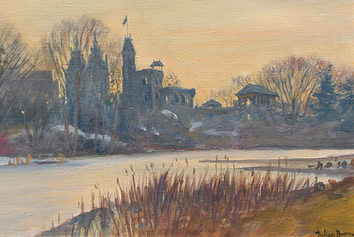 JULIAN BARROW    Belvedere Castle, Central Park, New York   Oil on canvas 10 x 14¼ inches (25.5 x 36 cm)  SOLD