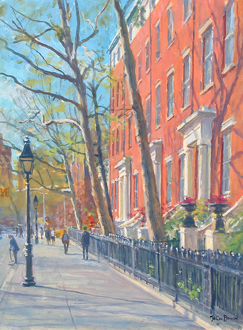 JULIAN BARROW  Washington Square, New York   Oil on canvas 16 x 12 inches (40.7 x 30.5 cm)  SOLD