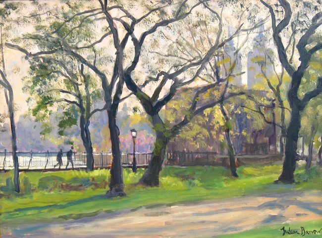 JULIAN BARROW    The Reservoir, Central Park, New York   Oil on canvas 9 x 12 inches (22.8 x 30.5 cm)  SOLD