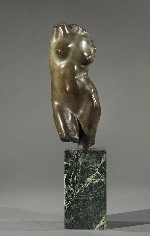 FREDERICK WARREN ALLEN    Torso of a Woman   Bronze with light green patina, on a marble base 11½ inches (29.2 cm) without base; 18¾ inches (47.6 cm) with base  SOLD