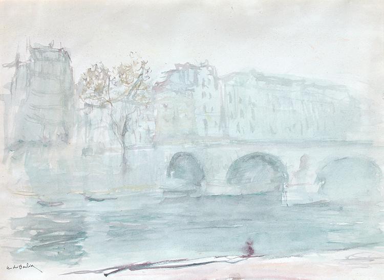 ANDRÉ GEORGES BARBIER    Ile de la Cité, Paris   Watercolor on paper 11½ x 15½ inches (29.2 x 39.4 cm) $3,500 Click here for more information