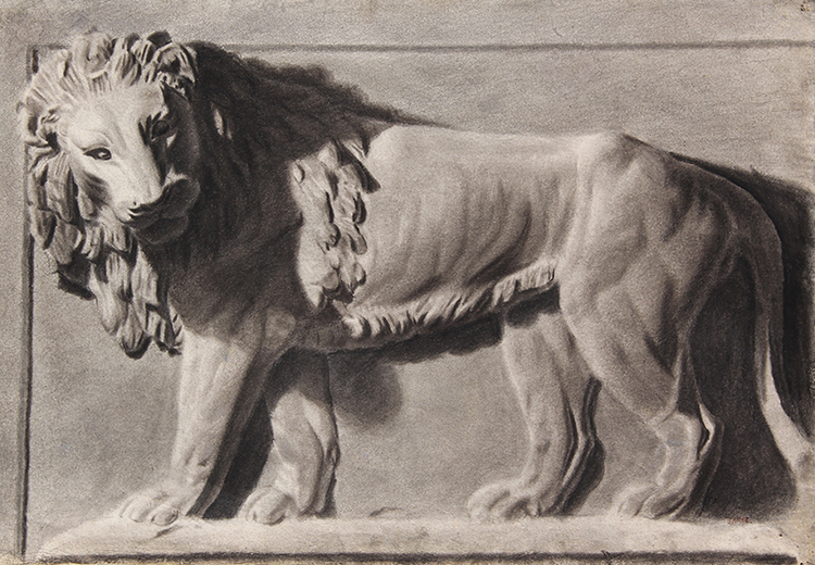 ANTOINE-LOUIS BARYE    Relief of a Lion   Charcoal on paper 13 x 19 inches (33 x 48.2 cm)  SOLD