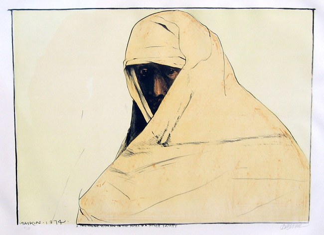 LEONARD BASKIN    Cheyenne Woman in the Robes of a Secret Society   Lithograph in colors 28 x 41 inches (71 x 104 cm) $3,400 Click here for more information