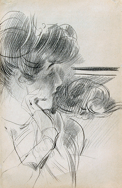 GIOVANNI BOLDINI    A Young Lady in Profile   Pencil on paper 7¼ x 4¾ inches (18.5 x 12 cm) $18,000 Click here for more information