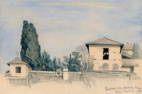 BRITISH SCHOOL    The Quirinal Hill, Rome   Pencil and watercolor on paper Sight: 6 x 9 inches (15.2 x 22.8 cm) Sheet: 7¾ x 9¼ inches (22.2 x 23.5 cm) $5,500 Click here for more information