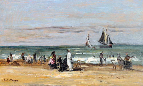 KARL PIERRE DAUBIGNY    La Plage de Trouville   Oil on panel 13½ x 23¾ inches (34.3 x 60.5 cm) $28,000 Click here for more information