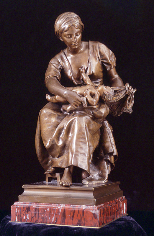 PIERRE LOUIS DÉTRIER    Mother and Child   Bronze, medium brown patina 16 inches (40.6 cm) high $8,000 Click here for more information