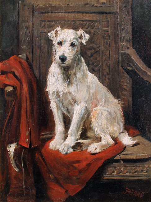 "JOHN EMMS    ""Lord Edward"" Seated on His Master's Coat   Oil on canvas 13¾ x 10¼ inches (35 x 26 cm)  SOLD"
