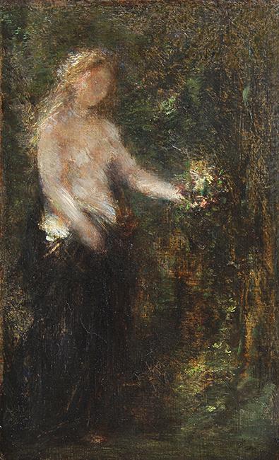 HENRI FANTIN-LATOUR    A la Mémoire de Schumann   Oil on canvas 12¾ x 8 inches (32 x 20 cm) $22,000 Click here for more information