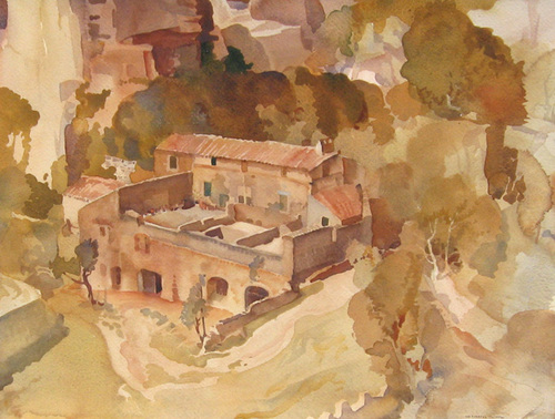 SIR WILLIAM RUSSELL FLINT    A Farm at Les Baux, Provence   Watercolor on paper 16½ x 21½ inches (42 x 54.5 cm) $12,000 Click here for more information