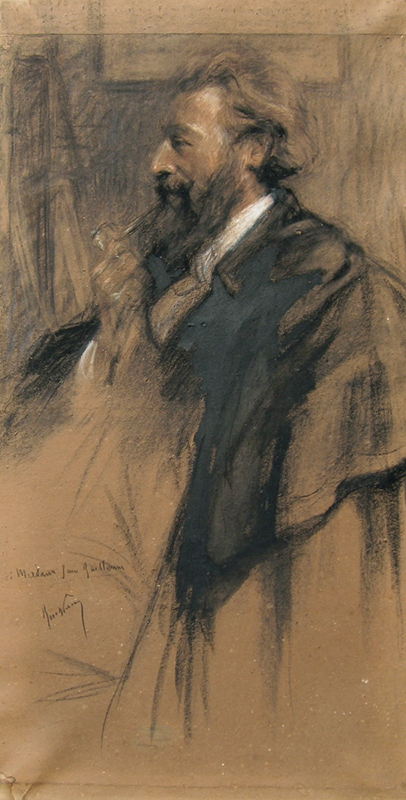 A Bearded Man with a Pipe   Black and white chalk on paper 49 x 25 inches (124.5 x 63.5 cm) $12,000 Click here for more information