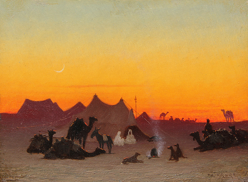 CHARLES THÉODORE FRERE    A Desert Encampment at Sunset   Oil on panel 5 x 6¾ inches (12.7 x 17.2 cm)  SOLD