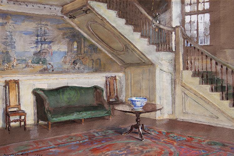 WALTER GAY  Entrance Hall, Moffatt-Ladd House   Gouache on paper 11 x 16 inches (27.9 x 40.6 cm)  SOLD