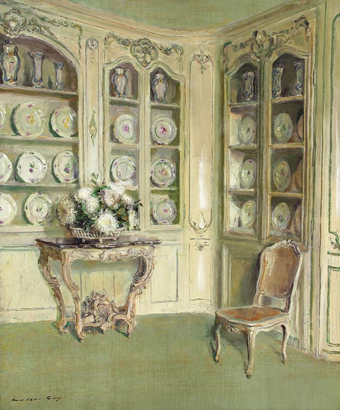 WALTER GAY    Porcelains, Château du Bréau   Oil on canvas 21¾ x 18¼ inches (55.2 x 46.4 cm)  SOLD