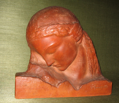 AMADEO GENNARELLI    Bust of a Woman   Terracotta 13 x 14¾ x 4 inches (33 x 37.5 x 10 cm)  SOLD