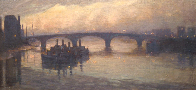 ANNA RICHARDS BREWSTER  Battersea Bridge at Twilight   Oil on canvas laid down on board 9¾ x 19¾ inches (24.7 x 50.2 cm)  SOLD