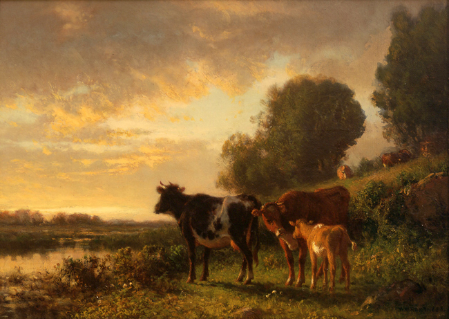 WILLIAM M. HART    The Watering-Place (Sunset with Cows)   Oil on canvas 10 x 14 inches (25.4 x 35.5 cm)  SOLD