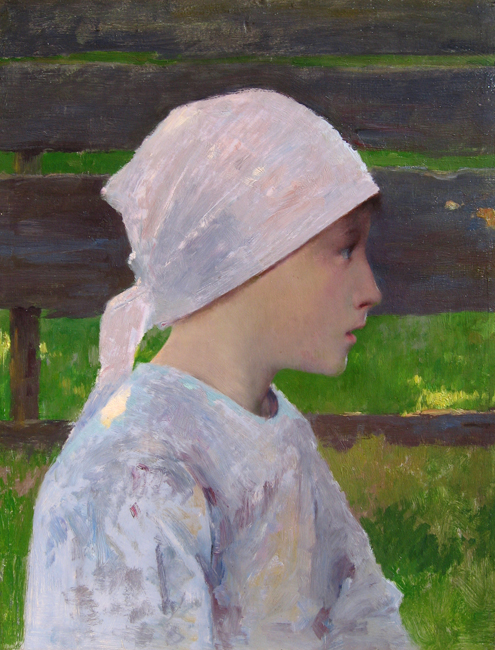 LOUIS WELDEN HAWKINS     A Breton Girl   Oil on panel 13¾ x 10½ inches (34.5 x 26.7 cm)  SOLD