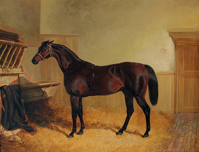 JOHN FREDERICK HERRING, SENIOR    Portrait of Charles XII, a Bay Racehorse, in a Stable  (1846)  Oil on canvas 28 x 36 inches (71.2 x 91.5 cm.)  SOLD
