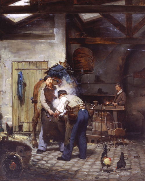 At the Blacksmith's   Oil on panel 18 x 14½ inches (46 x 37 cm) $20,000 Click here for more information