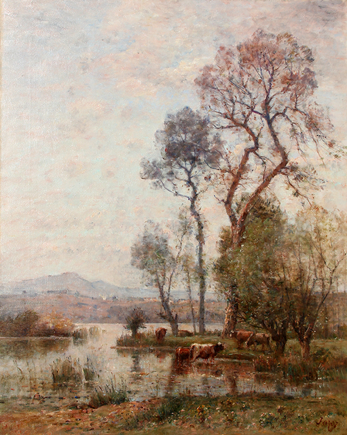 LOUIS AIMÉ JAPY    Cows on the River's Edge   Oil on canvas 36½ x 29 inches (92.7 x 73.7 cm)  SOLD