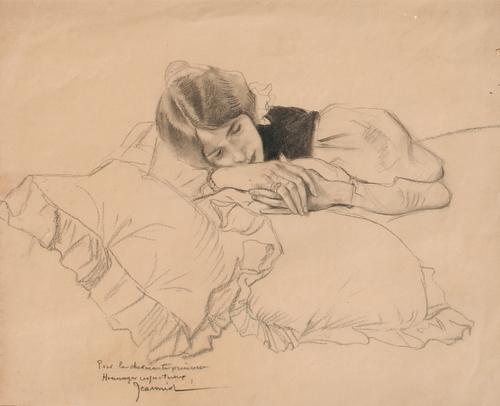 PIERRE GEORGES JEANNIOT    La Charmante Princesse     Charcoal on paper   11½ x 13¾ inches (29.2 x 35 cm)    SOLD