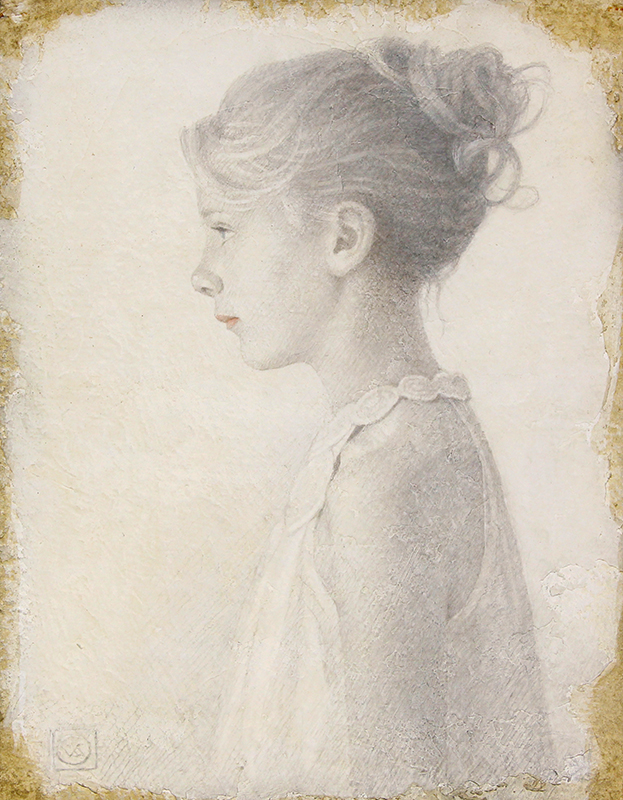 VIKTOR KOULBAK    Young Girl in Profile   Silverpoint and watercolor on paper 12½ x 10 inches (31.8 x 25.5 cm) $13,500 Click here for more information
