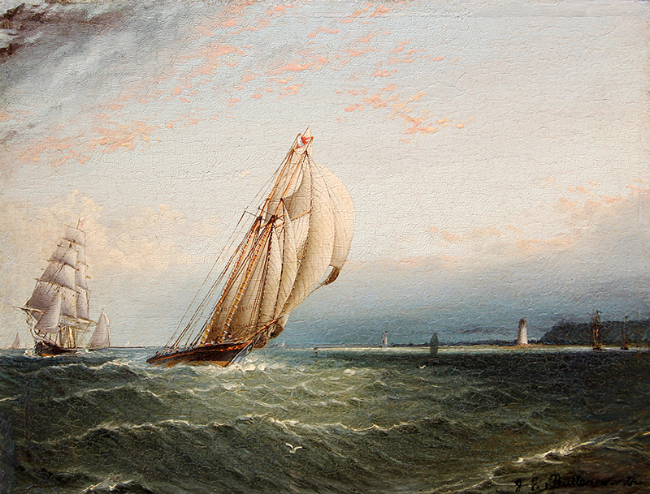 JAMES EDWARD BUTTERSWORTH  Racing Yacht off Sandy Hook   Oil on panel 7 x 9 inches (17.8 x 22.9 cm)  SOLD