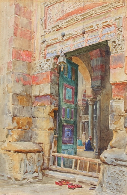 WALTER FREDERICK ROOFE TYNDALE    A Mosque Doorway   Watercolor on card 9½ x 6½ inches (24 x 16 cm) $3,700 Click here for more information