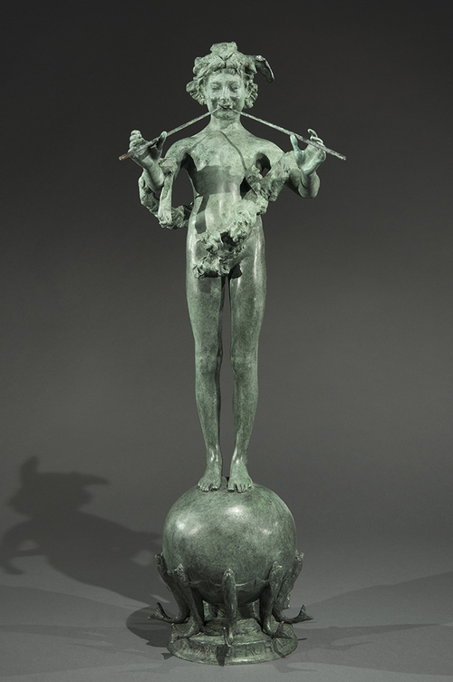 FREDERICK   MACMONNIES    Pan of Rohallion   Bronze with green verdigris patina 30 inches without base (76.2 cm) $18,000 Click here for more information