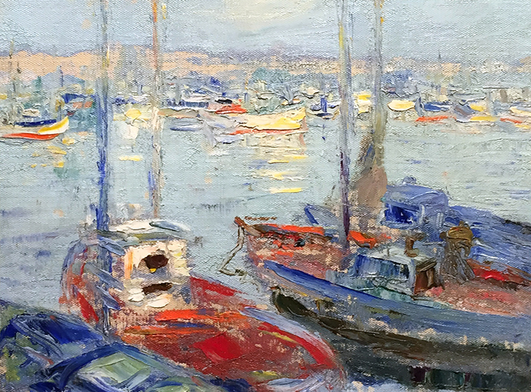 MICHAEL AUGUSTIN POWER O'MALLEY    California Harbor   Oil on board 12 x 16 inches (30.5 x 40.6 cm) $4,500 Click here for more information