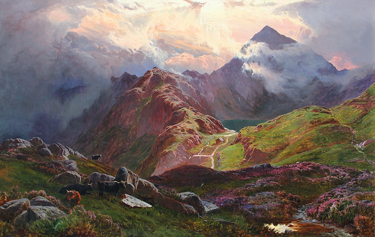 SIDNEY RICHARD PERCY    Snowdon, from above Llyn Llydaw, North Wales   Oil on canvas 24 x 38 inches (61 x 96.5 cm) $32,000 Click here for more information
