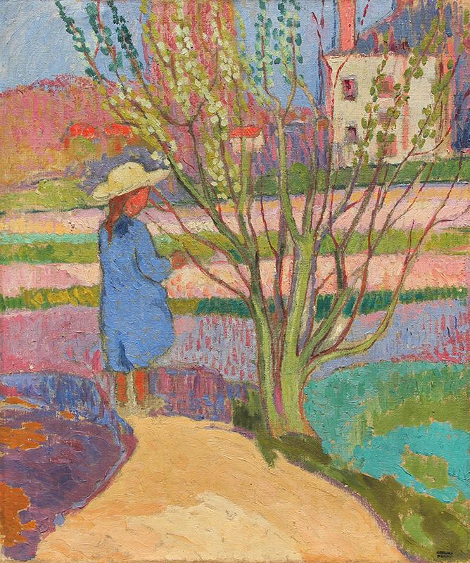 JEAN PESKÉ    Fillette au Jardin   Oil on canvas 22 x 18¼ inches (55.9 x 46.4 cm)  SOLD
