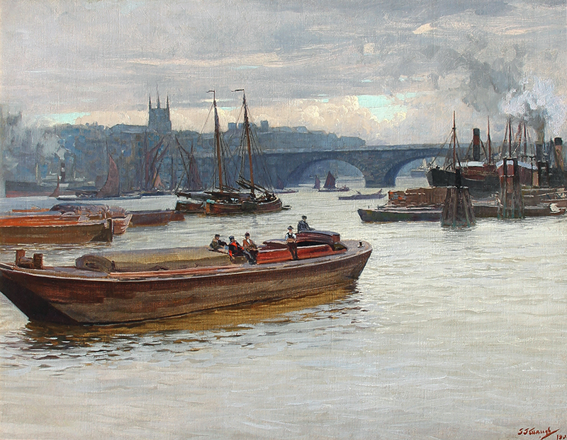 FREDERICK JUDD WAUGH    Boats on the Thames near London Bridge   Oil on canvas 18 x 23 inches (45.7 x 58.4 cm)  SOLD
