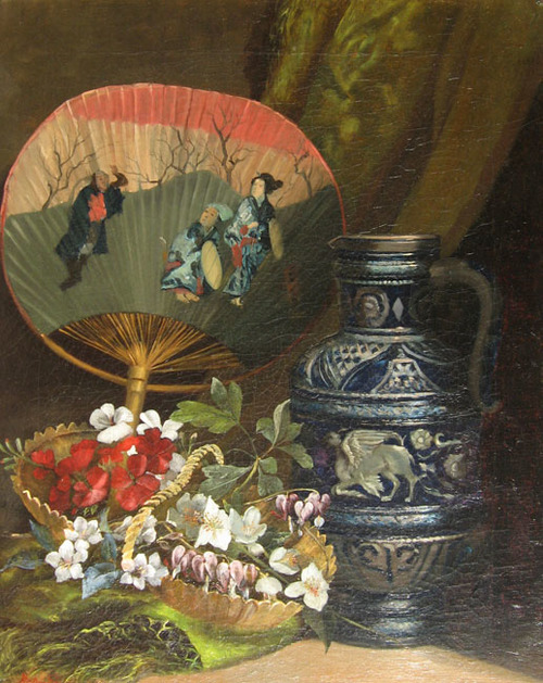 HENRI SAINTIN    Still Life with Oriental Fan   Oil on canvas 20½ x 16 inches (52 x 40.7 cm) $9,000 Click here for more information