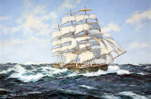 """HENRY SCOTT    Pacific Deep - The Tea Clipper """"Thermopylae""""   Oil on canvas 24 x 36 inches (61 x 91.5 cm) $9,500 Click here for more information"""
